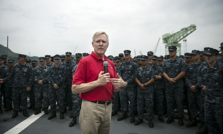 Navy Secretary Ray Mabus speaking to sailors during a visit to a base in Japan