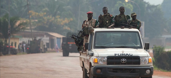 Chadian  troops travelling on a road in Bangui, Central African Republic