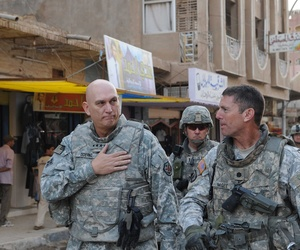 Gen. Odierno and Lt. Col. Joseph McGee walk through Samarra, Iraq, in 2008.