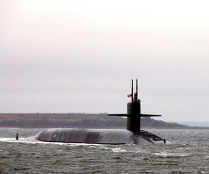 The USS Florida, an Ohio-class submarine, departing Naval Submarine Base Kings Bay
