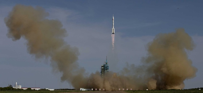 The Long March 2F rocket taking off from the Jiuquan Satellite Launch Center in northwest China. Beijing has been ramping up its investments in space technology, especially with the recent test of a hypersonic vehicle