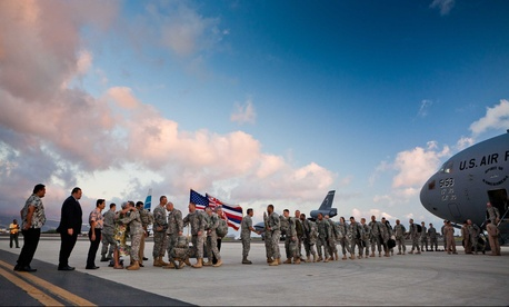 U.S. soldiers returning home from Iraq in December 2011 at the end of the war.