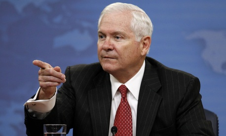 Former Defense Secretary Bob Gates during a press briefing at the Pentagon. A 2010 directive from Gates ordered the services to find ways to increase efficiency and save money