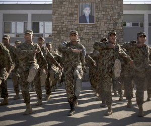 Afghan soldiers train at an Army facility outside Kabul last fall.