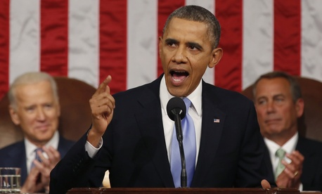 In his State of the Union address to Congress, President Obama said future military interventions would be limited, Jan. 28, 2013.
