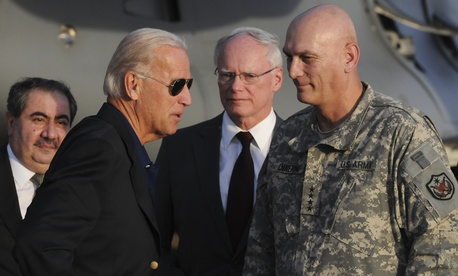 Vice President Joe Biden is greeted by Gen. Raymond Odierno, then-commander of U.S. forces in Iraq, in Baghdad in 2010.