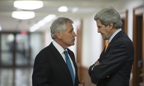 Defense Secretary Chuck Hagel and Secretary of State John Kerry.
