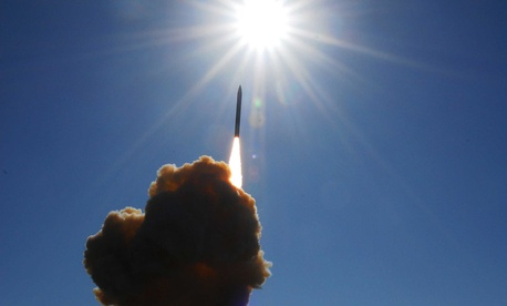A ground base missile inceptor lifting off from Vandenberg Air Force Base during a 2008 system test
