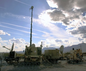 Warfighter Information Network-Tactical (WIN-T) equipment being prepared before an evaluation exercise at White Sands Missile Range