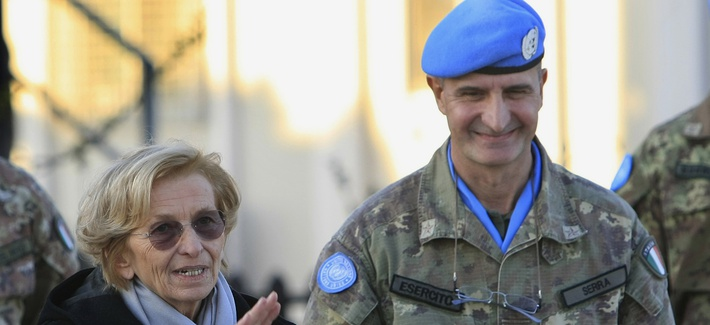 U.N. peacekeepers in Lebanon are led by Italian Gen. Paulo Serra, pictured Feb. 5, 2014, with visiting Italian Foreign Minister Emma Bonino.