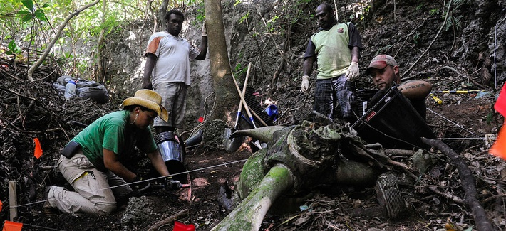A team from the JPAC conducting an excavation in Mavea Island, Vanuatu