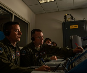U.S. Air Force officers at Vandenberg Air Force Base, Calif., testing out procedures during a missile launch training session.