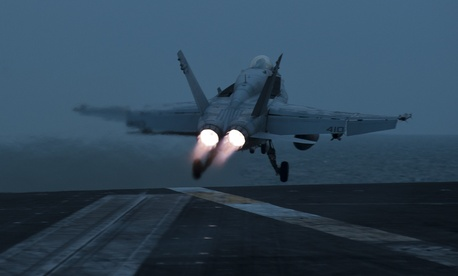 One of the Navy's F/A 18C jets taking off. The Pentagon's upcoming budget will likely not purchase any more of the aircraft