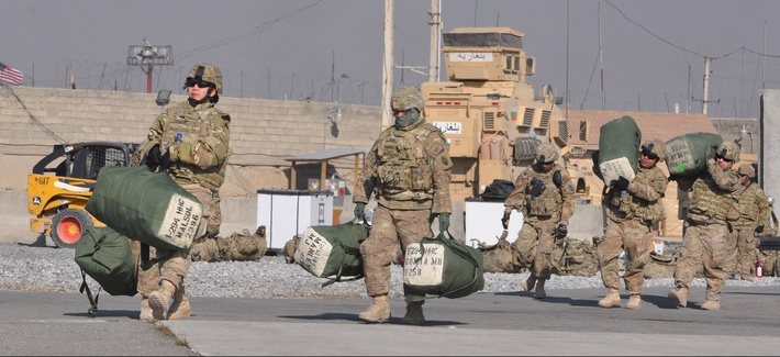 Troops from the Guam Army National Guard preparing to leave Camp Phoenix, Kabul, Afghanistan