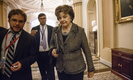 Sen. Dianne Feinstein, D-Calif., leaving the chamber in the Capitol.