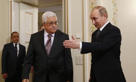 Palestinian President Mahmoud Abbas meets with Russian president Vladimir Putin