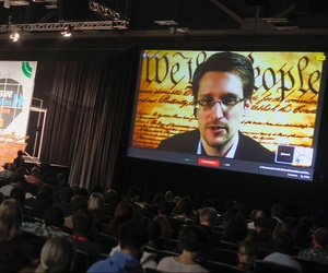 Edward Snowden, speaking via teleconference at the South by Southwest Interactive festival