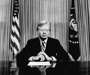 President Jimmy Carter, preparing to speak to the country after a failed attempt to rescue the hostages at the U.S. Embassy in Tehran