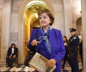 Sen. Dianne Feinstein, D-Calif., leaving after speaking on the floor of the Senate