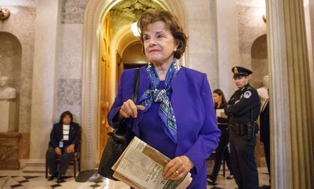 Sen. Dianne Feinstein, D-Calif., leaving after speaking on the floor of the Senate