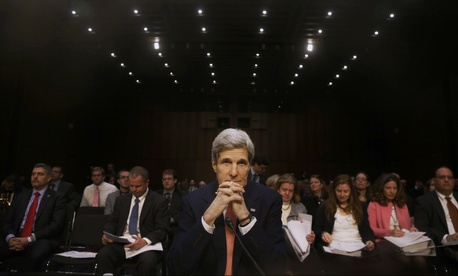 Secretary of State John Kerry at Thursday's congressional hearing on a Ukraine sanctions bill