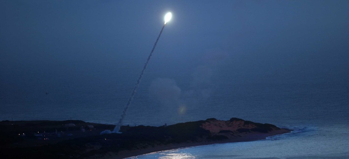 A test launch of the Standard Missile-3 from the USS Lake Erie