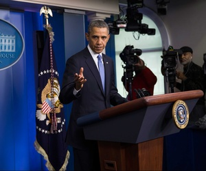 President Obama speaking today a press conference regarding new sanctions on high ranking Russian officials