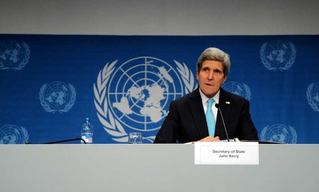 Secretary of State John Kerry speaking at the Geneva II conference in January