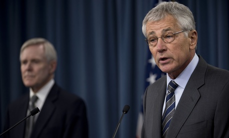 Secretary of Defense Chuck Hagel and Secretary of the Navy Ray Mabus during a press conference at the Pentagon March 18, 2014.