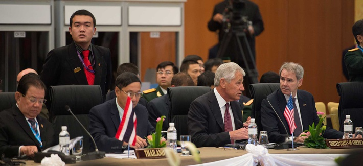 Defense Secretary Chuck Hagel during a ASEAN defense ministers meeting in August 2013