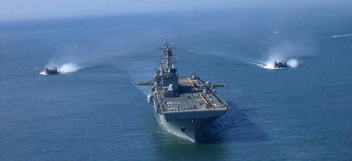 The USS Bonhomme Richard, sailing during Fleet Week Parade of Ships