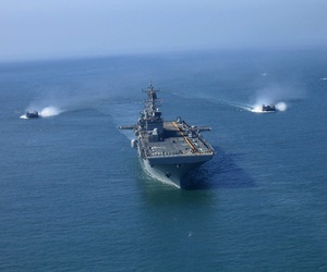 The USS Bonhomme Richard, sailing during Fleet Week Parade of Ships