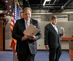 Reps. Mike Rogers, R-Mich., and Dutch Ruppersberger, D-Md., after presenting their changes to the NSA's surveillance program