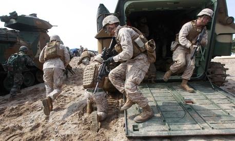 U.S. and South Korean troops running landing drills near Pohang, South Korea