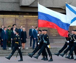Russian Marines march in front of Russian prime minister Dmitri Medvedev in Sevastopol, Crimea
