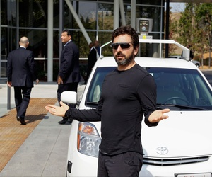 Google co-founder Sergey Brin exits a driverless car at Google headquarters in Mountain View, Calif., September 2012. Brin took the ride with state officials ahead of plans to figure out how to integrate driverless cars onto public roads.