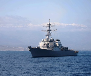The USS Donald S. Cook, sailing in the Eastern Mediterranean Sea