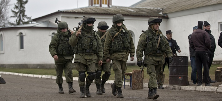 Pro-Russian troops marching in Crimea
