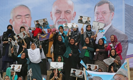 Female supporters of Afghan presidential candidate Ashraf Ghani Ahmadzai during a rally in Kabul, Afghanistan