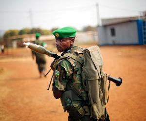 A Rwandan peacekeeper patrolling Bangui, Central African Republic