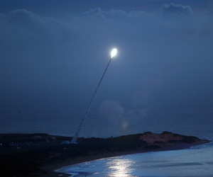 A Standard Missile-3 is shown moments before intercepting a ballistic missile as part of a Missile Defense Agency test at the Pacific Missile Range Test Facility in Kauai, Hawaii, in November 2007.