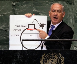 Israel's Prime Minister, Bibi Netanyahu, speaking at the 2012 United Nations General Assembly