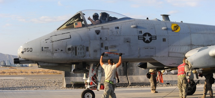 An A-10 Thunderbolt preparing to take off from Kandahar Airfield, Afghanistan