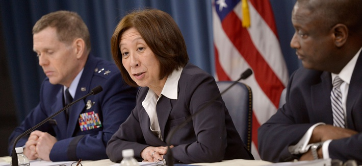 DOD CIO Teri Takai during a February 2014 press briefing on the Pentagon's new electromagnetic spectrum strategy