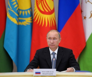 Russian President Vladimir Putin looks on during a meeting of Collective Security Treaty Organization in Sochi, Russia, on Monday, Sept. 23, 2013.