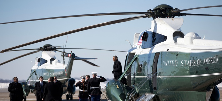 President Obama stepping off of Marine One during a visit to West Mifflin, Pa., on January 29, 2014
