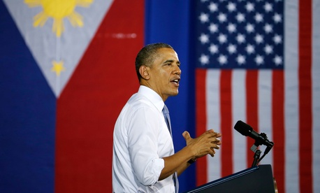 President Obama speaks to troops from the U.S. and the Philippines at Fort Bonifacio in Manila, the Philippines on Tuesday April 29, 2014.