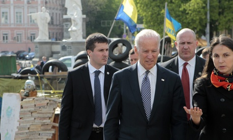 Vice President Joe Biden walks through Mykhailivska square in Kiev, Ukraine, April 22, 2014.