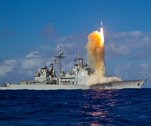 A Standard Missile-3 Block 1B interceptor missile is launched from the USS Lake Erie during a test in the Pacific Ocean