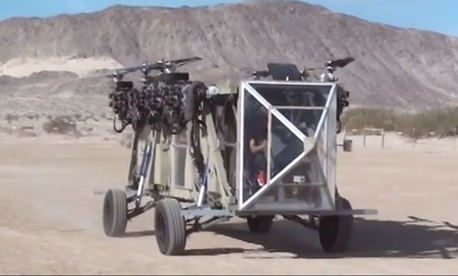 The Black Knight Transformer aircraft driving around during a test in late-March